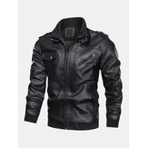 Mens Solid Color PU Leather Zip Front Biker Jackets With Multi Pockets