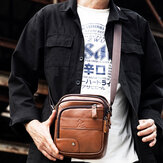 Men Genuine Leather Bag Multi-layer Cowhide Crossbody Bag Shoulder Bag