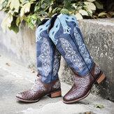 Botas de vaqueiro femininas com bordados florais retrô de tamanho médio