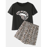 Leopard Print Pajamas Set Two Pieces O-Neck Short Sleeve Women Outwork Loungewear