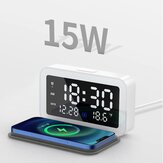 Bakeey 6 In 1 LED Digital Alarm Clock With 15W Fast Wireless Charging Pad / Night Lights / 12/24H SnoozeTime Display / Date Display / Thermometer Display For Bedroom Office Meeting Travel