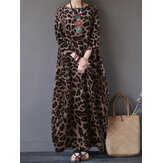 Women Leopard Print Crew Neck Loose Baggy Maxi Dress