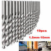 19pcs 1.5mm to 10mm HSS Twist Drill Bit Set