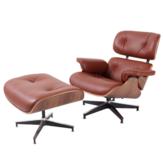 KCASA volledig lederen fauteuil fauteuil met aluminium voetsteun voor woonkamer