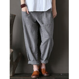 M-5XL Pantaloni Vita Elastica Modello Striscia Allentati Informali da Donna