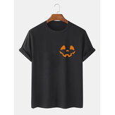 Halloween Hommes 100% Coton Design Smile Print T-shirts simples à manches courtes