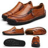 Mode Heren Lederen Casual Rits Schoenen Ademende Antislip Loafers Mocassins
