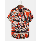 Mens Colorful Print Chest Pocket Short Sleeve Casual Shirts