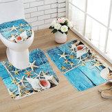 3PCS Set Blue Ocean Style Bathroom Set Pedestal Rug Lid Toilet Cover Bath Mat