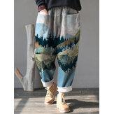 Dames landschap print corduroy elastische taille losse casual vintage broek