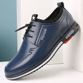 Men Microfiber Leather Non Slip Elastic Lace Business Casual Shoes