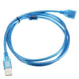 5FT 1.5m Clear Blue USB 2.0 Extension Male to Female Conector Cabo