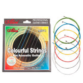 Alices Acoustic Guitar Strings A407C Stainless Steel Core 6 Strings Colorful Coated Copper Alloy Wound 0.011-0.052 Inch