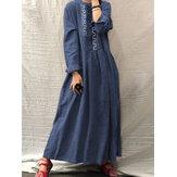 Vestido feminino vintage étnico bordado frontal com botão de manga longa Camisa Maxi