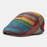 Collrown Men Knit Stripe Pattern Mixed Rainbow Color Retro Casual Outdoor Forward Hat Beret Hat