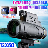 12*50 High Optical Monocular with Laser Night Light Function Portable Telescope for Bird Watching Target Shooting Archery Range Outdoor Activities