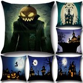 Halloween Pumpkin Bat Ghost Pattern Pillowcase Cotton Linen Throw Pillow Cushion Cover Seat Home Decoration Sofa Decor