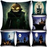 Halloween Pumpkin Bat Ghost Padrão Almofada Algodão Linho Almofada Almofada Almofada Estofada Decoração para casa Decoração de sofá