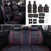 5-Seat Black&Red Universal Auto Car Seat Cushion Front Rear Head Rests Full Set Protector