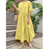Casual Solid Color Round Neck Pleated Pocket Plain Maxi Dress
