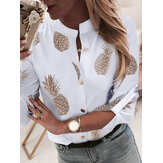 Pineapple Print V-neck Long Sleeve Casual Blouse For Women