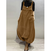 Women Corduroy Sleeveless Drop-Crotch Lantern Legs Vintage Jumpsuit
