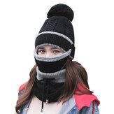 3 stks Vrouwen Winter Warm Pom Hoed Cap Gezichtsmasker Sjaal Wol Gebreide Hals Verdikte Pluche
