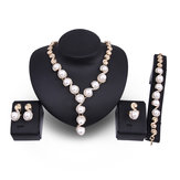 18K Gold Plated Necklace Pearl Earrings Ring Jewelry Set