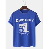 100% Cotton Cute Cartoon Crocodile Pattern Letter Print Loose Short Sleeve T-Shirts