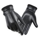 Men Sheepskin Leather Gloves Autumn Winter Warm Touch Screen Full Finger Black Gloves