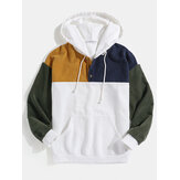 Mens Corduroy Patchwork Half Button Pouch Pocket Drawstring Hoodies