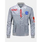メンズNASAレタープリントフラップポケットスタンドカラーカジュアルボンバージャケット