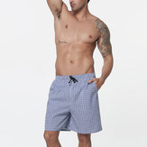Summer Mens Casual Plaid Beach Pants Cotton Sport Swimming Trunks