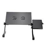 Adjustable Folding Notebook Laptop Stand Desk Table USB Cooling Pad 2 Fans Sofa Bed Tray Bracket with Mouse Board
