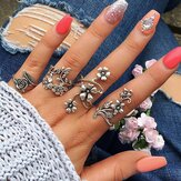 4-delige Ring Set Boheems Flower Zilveren Ringen voor Dames