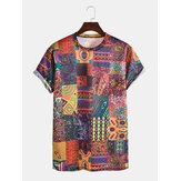 Mens Vintage Print Ethnic Style Short Sleeve Casual T-Shirts