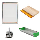 Screen Printing Tools Kit with Aluminum Frame Hinge Clamp Emulsion Coater Squeegee