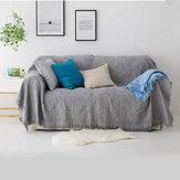Couverture de canapé couvertures tricotées en treillis de couleur unie avec pompon lit housse de canapé jeter couverture housse anti-poussière décorations de meubles de bureau à domicile