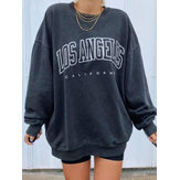 Women Letter Print Drop Shoulder Pullover Simple Navy Sweatshirt