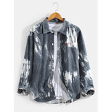 Herre Slipsfarve Letter Print Button Up Revers Casual Langærmede Shirts