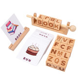 Montessori Wooden Spelling Learning Blocks Alphabet Number Matching Manipulative Toy Spinning Word Game for Children Boys