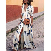 Bohemian Women Party Evening V Collo Maxi abito lungo stampato floreale a maniche corte