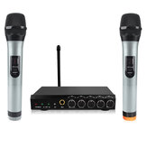 bluetooth Wireless Microphone System VHF Dual Channel Handheld Micorphone Mini Portable Singing Mixer Karaoke Machine