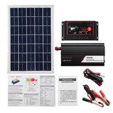 12V/24V DIY Solar System Kit Soalr Charge Controller 18V 20W Solar Panel 1000W Solar Inverter Solar Power Generation Kit