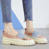 Women Splicing Slip Resistant Soft Casual Slip On Comfy Flats