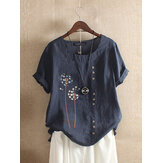 Flower Print O-neck Short Sleeves Button Vintage T-shirts For Women