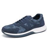 Chaussures de sport décontractées respirantes en cuir microfibre pour hommes