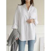 Camisas sueltas con dobladillo irregular de algodón informal diario para mujer