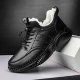 Men Hand Stitching Leather Light Weight Warm Soft Casual Sport Shoes