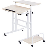 Mobile Standing Desk Computer Laptop Desk Sit-Stand Writing Study Table Workstation with Computer Case Rack